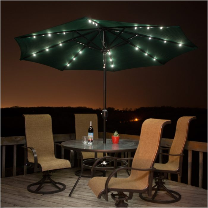 9 Ft Solar Lighted Patio Umbrella