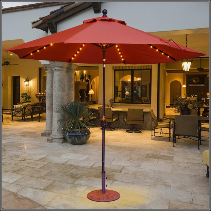 Lighted Umbrella Patio Furniture
