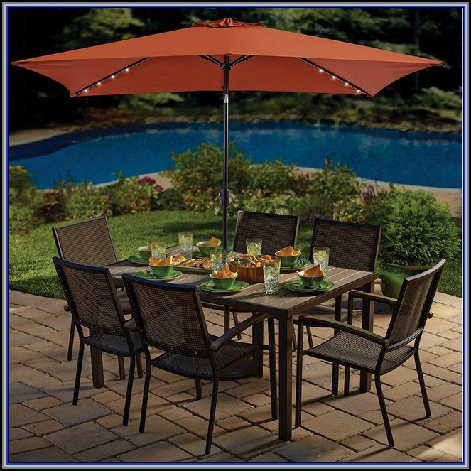 Patio Umbrella With Solar Lights Home Depot