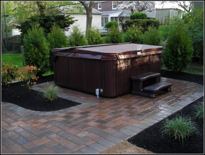Paver Patio Designs With Hot Tub