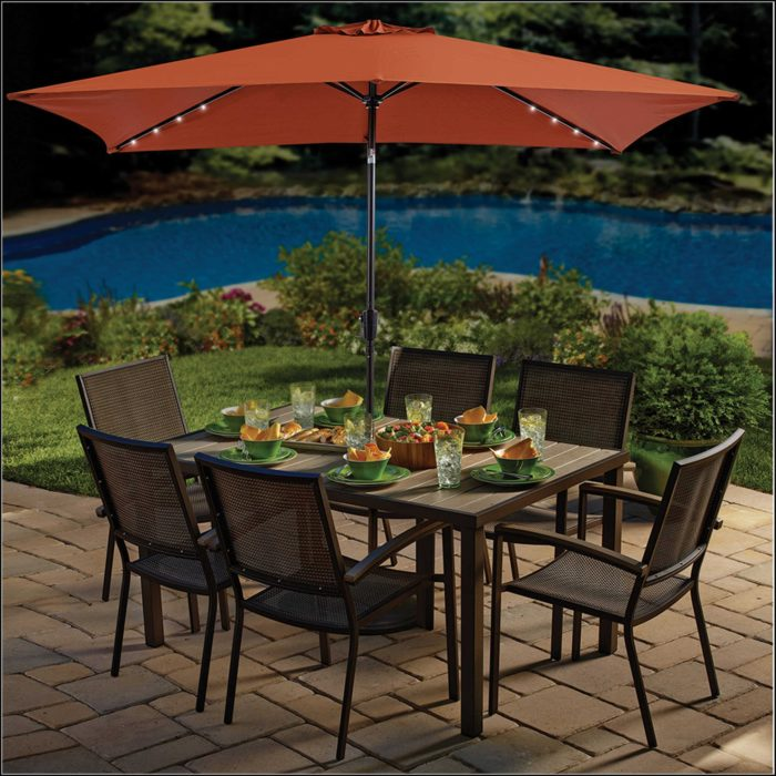 Rectangle Patio Umbrella With Solar Lights
