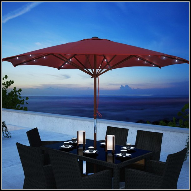Red Patio Umbrella With Solar Lights