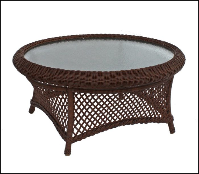 Round Wicker Patio Coffee Table
