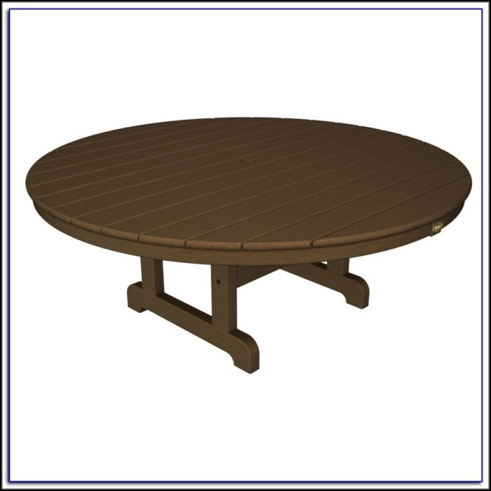 Round Wood Patio Coffee Table