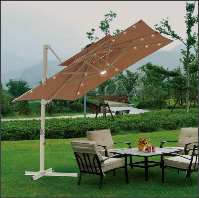 Solar Lighted Offset Patio Umbrella