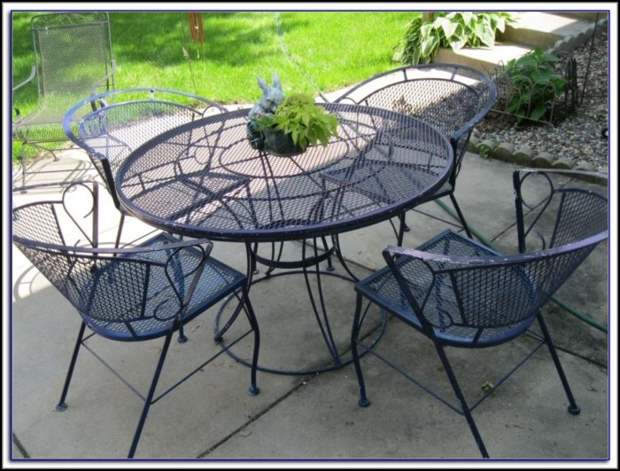 White Outdoor Wrought Iron Patio Furniture