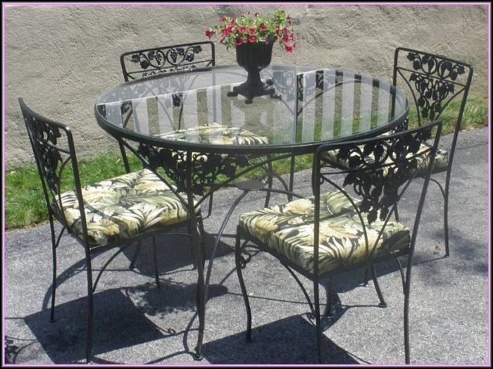 White Wrought Iron Patio Table