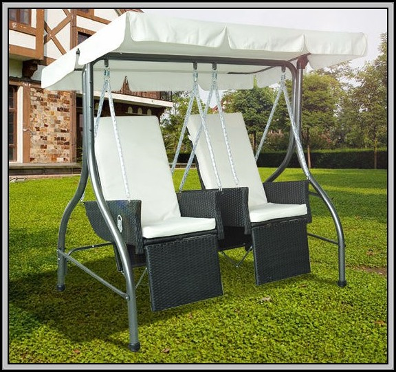 Wicker Patio Swing Set