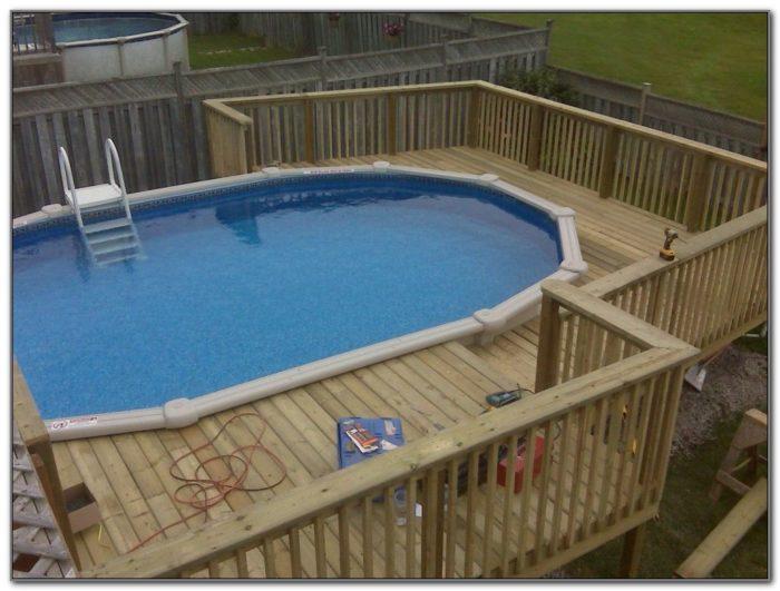 Above Ground Pool Wood Deck Designs