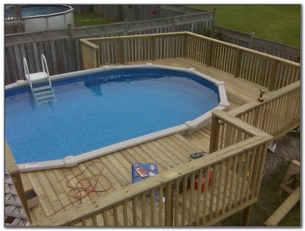 Above Ground Pool Wood Deck Designs