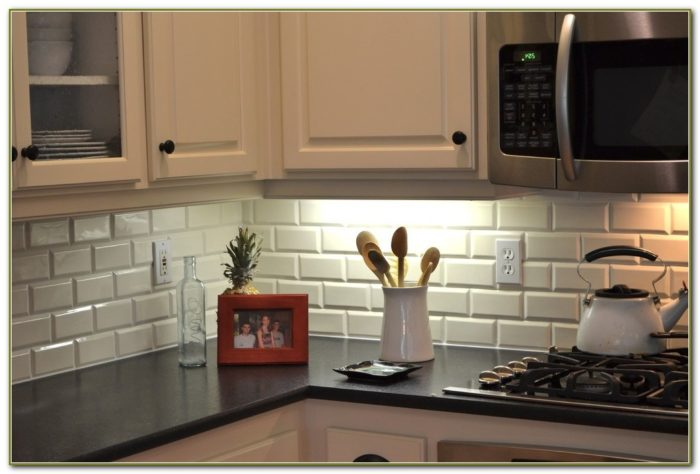 Beveled Glass Subway Tile Backsplash