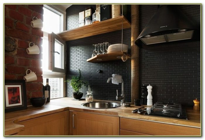 Black Subway Tile Backsplash Kitchen