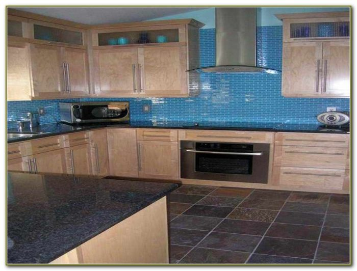 Blue Glass Tile Backsplash Kitchen