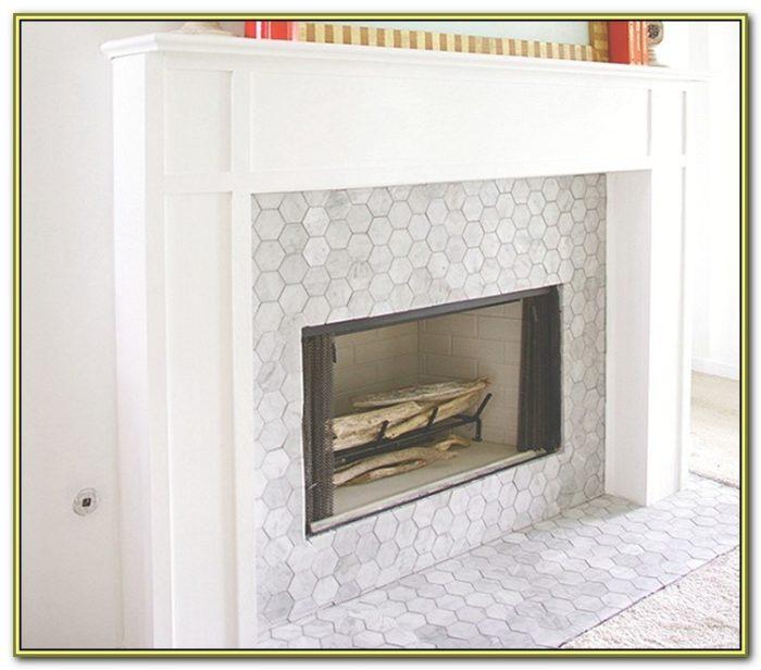 Carrara Marble Subway Tile Fireplace