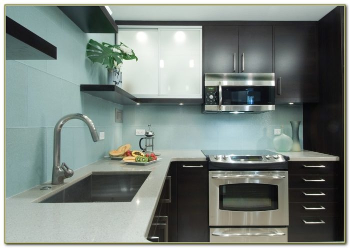 Clear Glass Tile Backsplash Kitchen