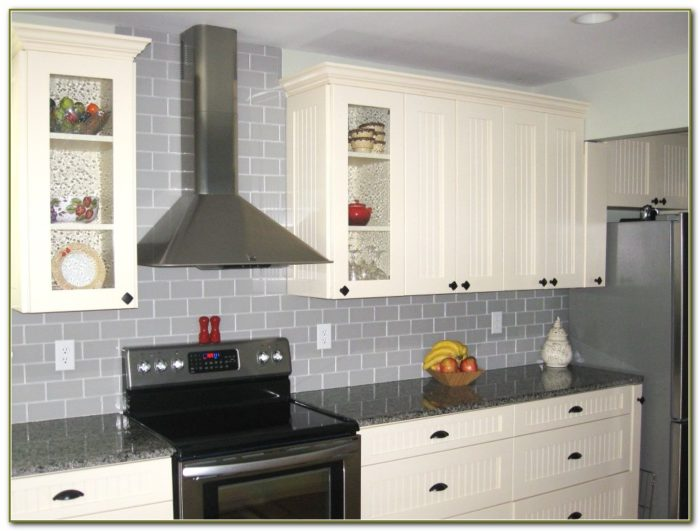 Dark Grey Subway Tile Backsplash
