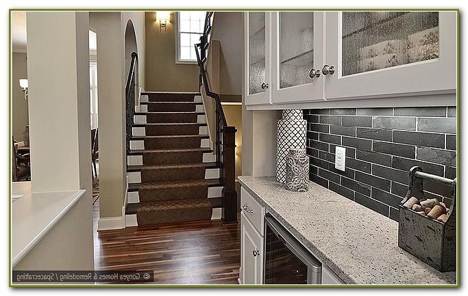 Glass Tile Backsplash White Cabinets Black Granite