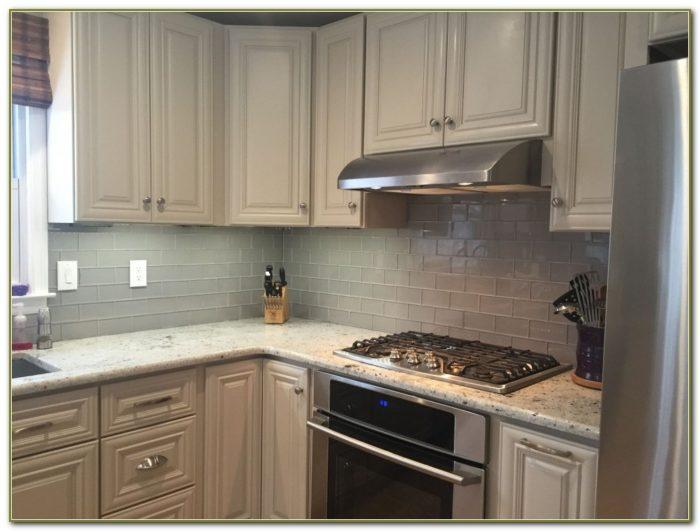 Glass Tile Kitchen Backsplash White Cabinets