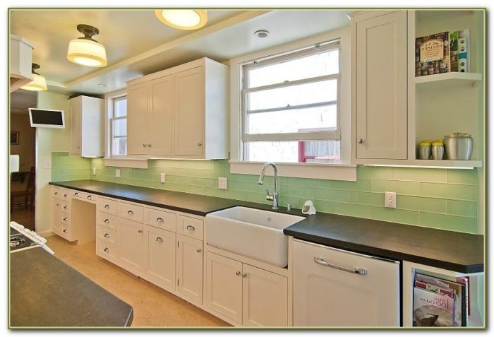 Green Subway Tile Backsplash Kitchen