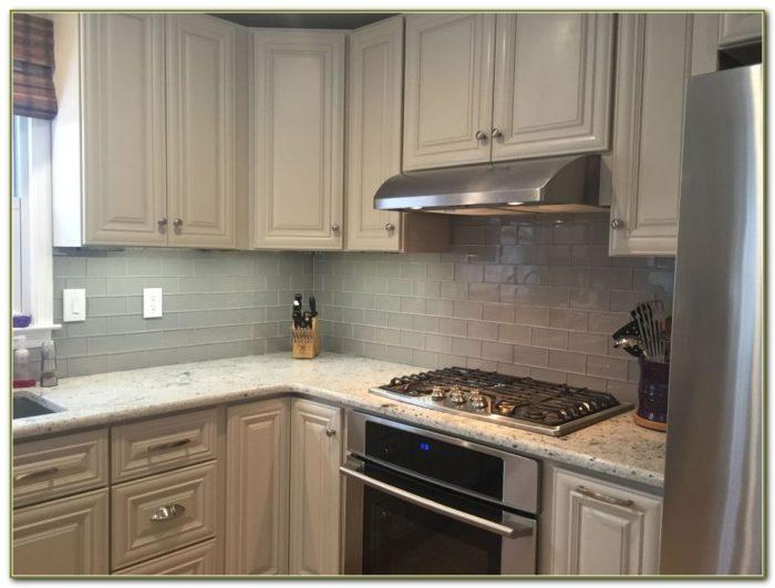 Grey Glass Subway Tile Kitchen