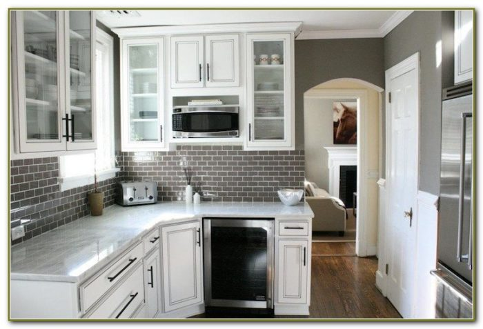 Grey Subway Tile Backsplash Kitchen