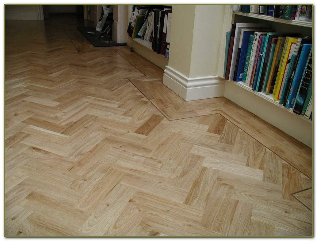 Herringbone Pattern Wood Tile Floor
