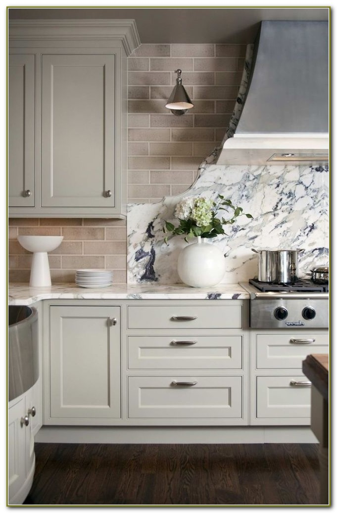 Light Grey Subway Tile Backsplash Kitchen