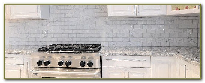 Light Grey Subway Tile Backsplash