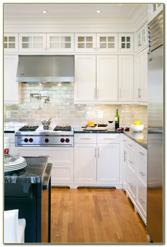 Mirrored Subway Tile Backsplash Kitchen