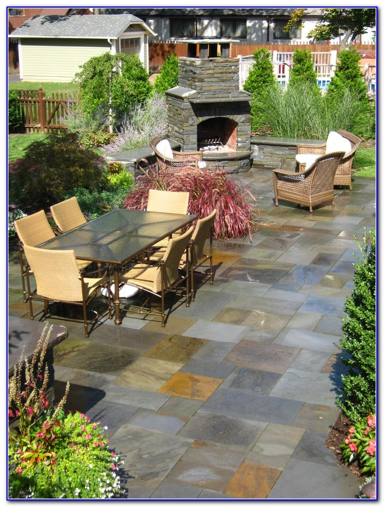 Slate Stamped Concrete Pool Deck