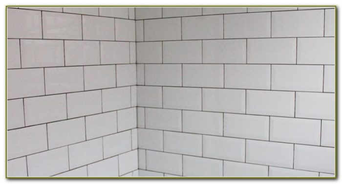 White Beveled Subway Tile Dark Grout