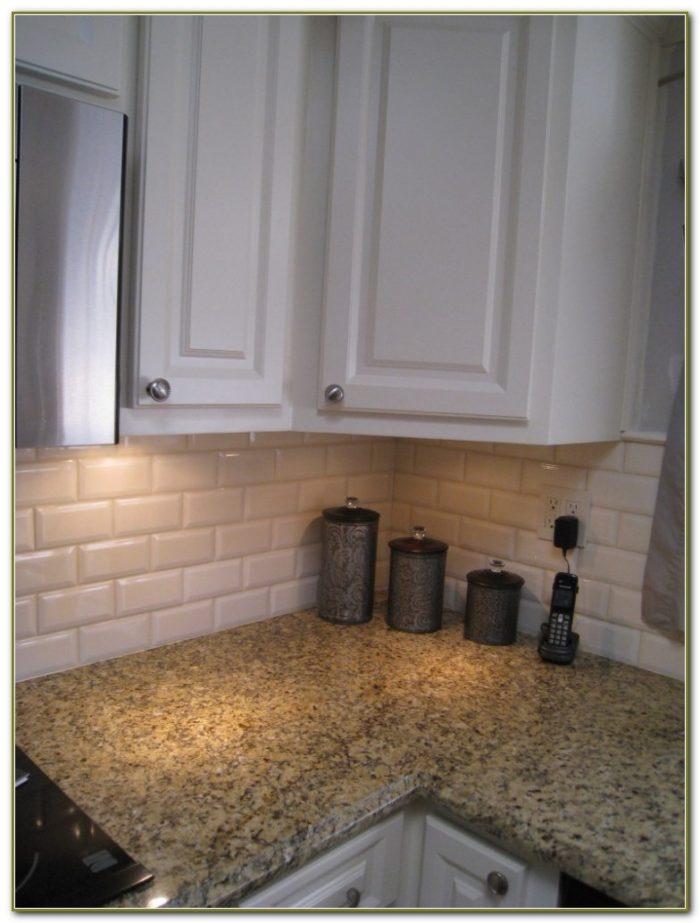White Beveled Subway Tile Kitchen