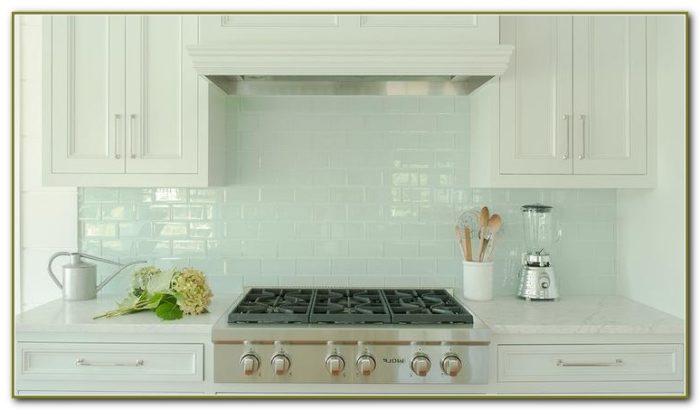 White Glass Tile Backsplash Kitchen