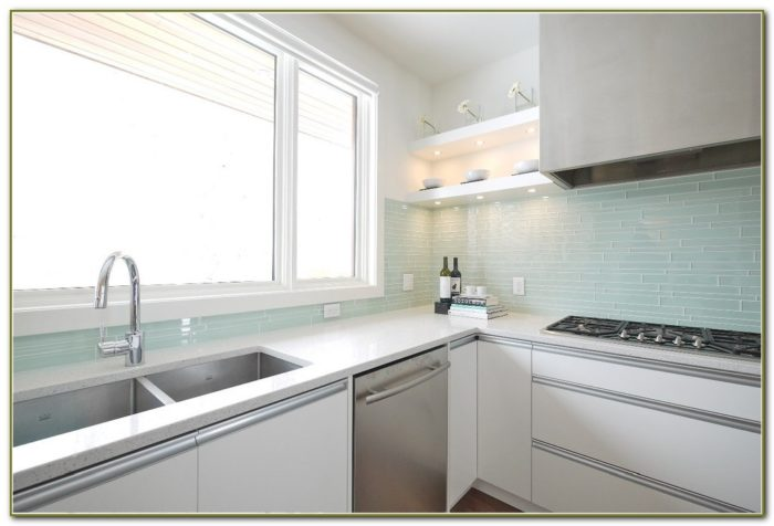 White Kitchen Glass Tile Backsplash
