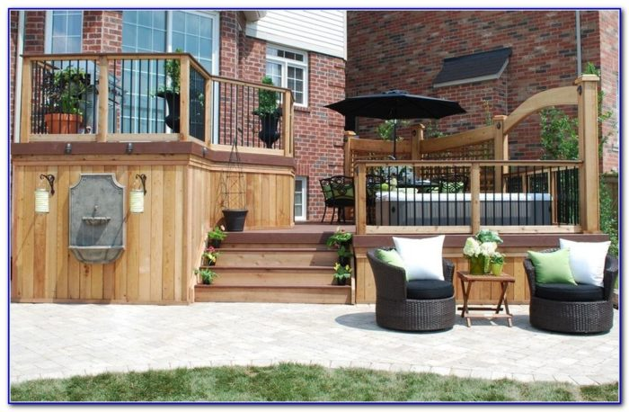 Wood And Iron Deck Railing