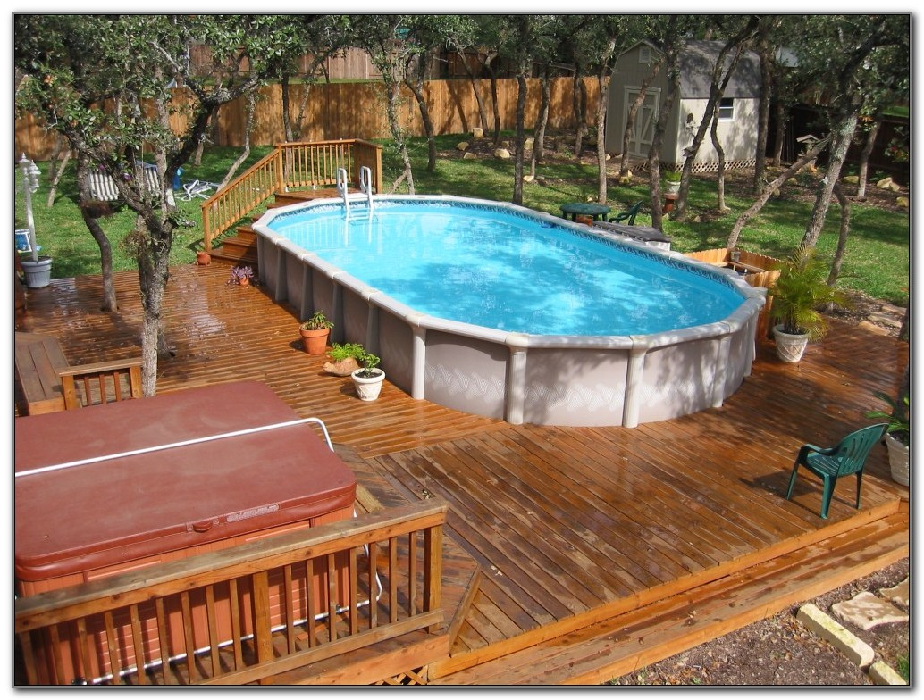 Wood Deck Above Ground Pool