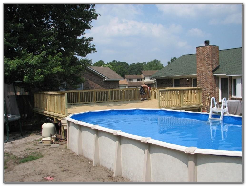 Wood Deck Around Above Ground Pool