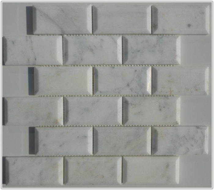 Beveled Carrara Marble Subway Tiles