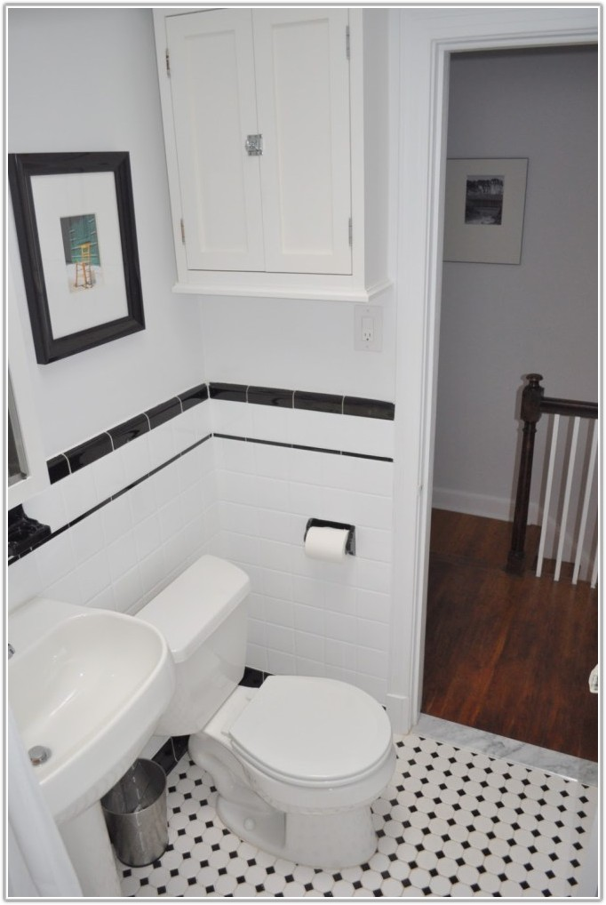Black And White Bathroom Subway Tile
