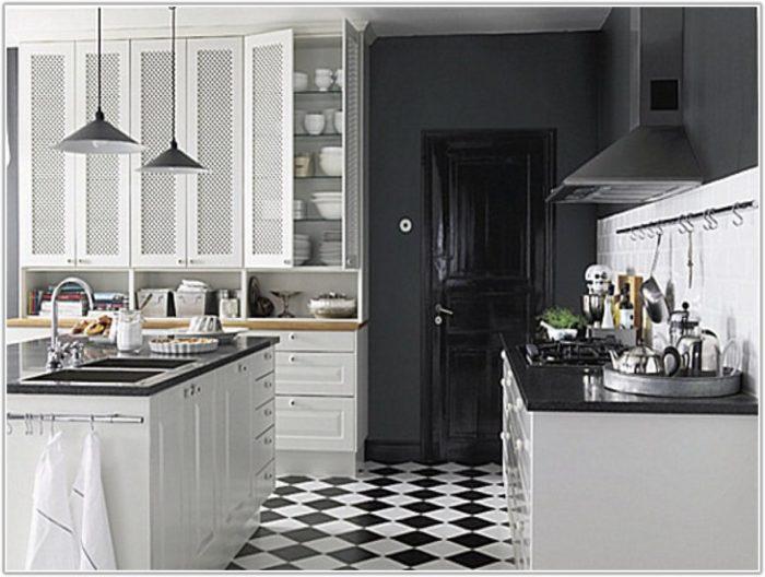Black And White Floor Tile Kitchen