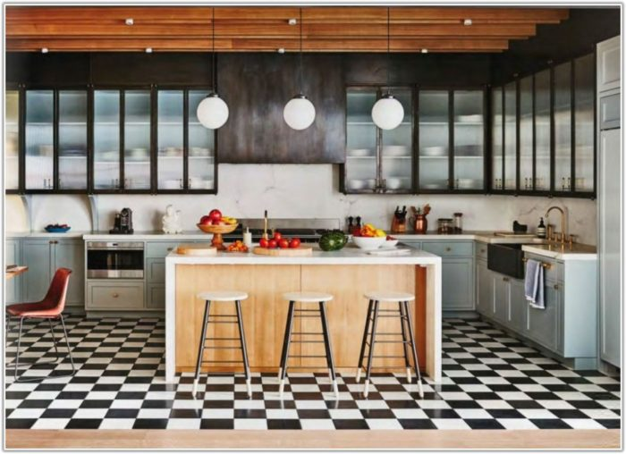 Black And White Floor Tiles Kitchen