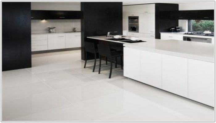 Black Shiny Kitchen Floor Tiles