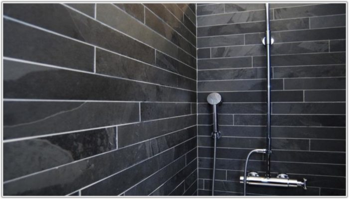 Black Slate Bathroom Floor Tiles