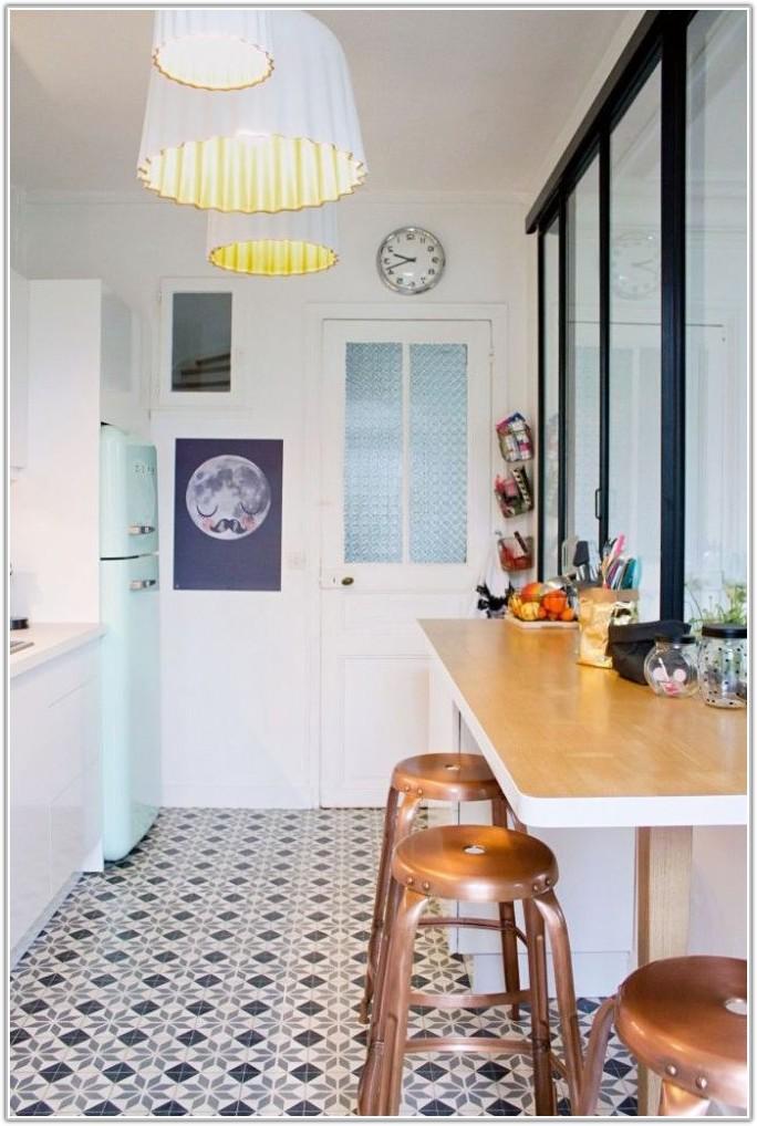 Black White Floor Tile Kitchen