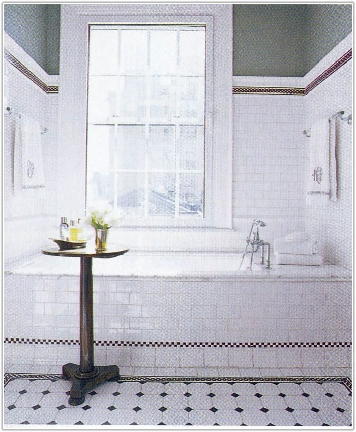 Black White Subway Tile Bathroom