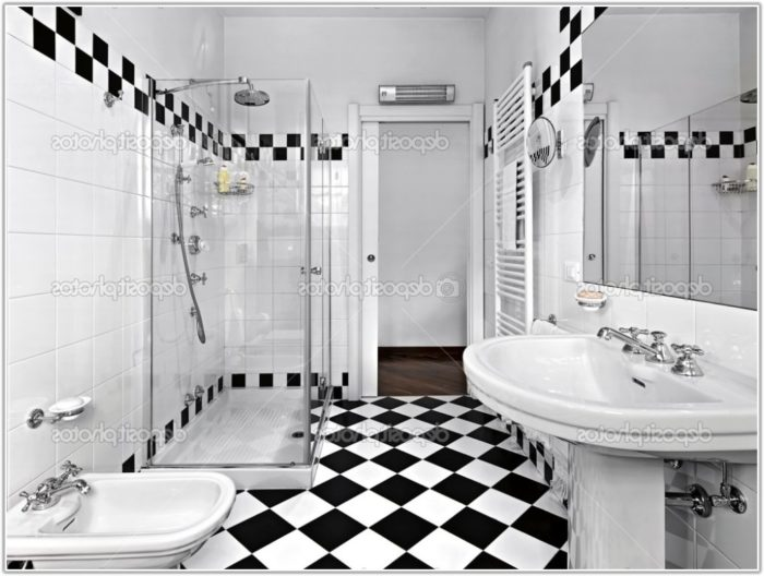 Black White Tile Bathroom Decorating Ideas