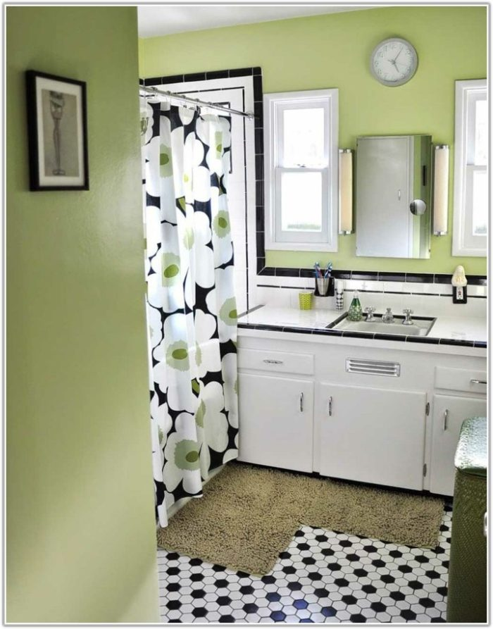 Black White Tile Bathroom Wall Color