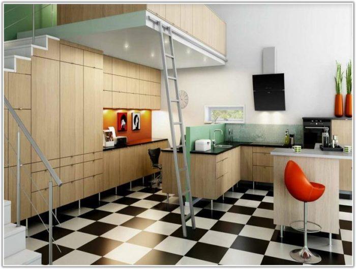 Black White Tile Floor Kitchen