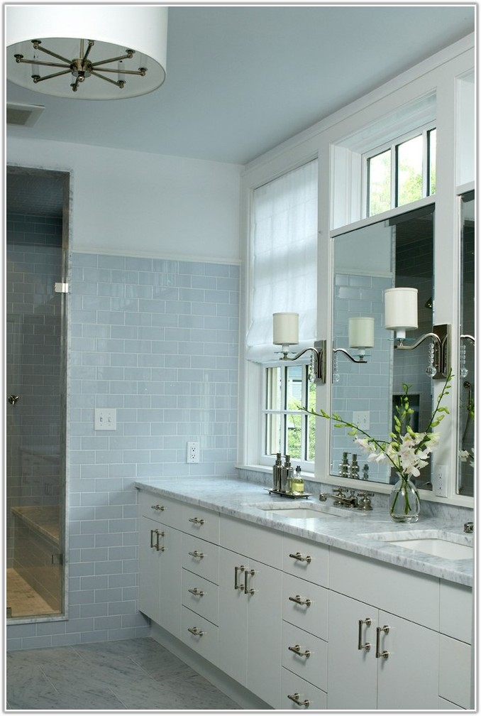 Blue And White Subway Tile Bathroom