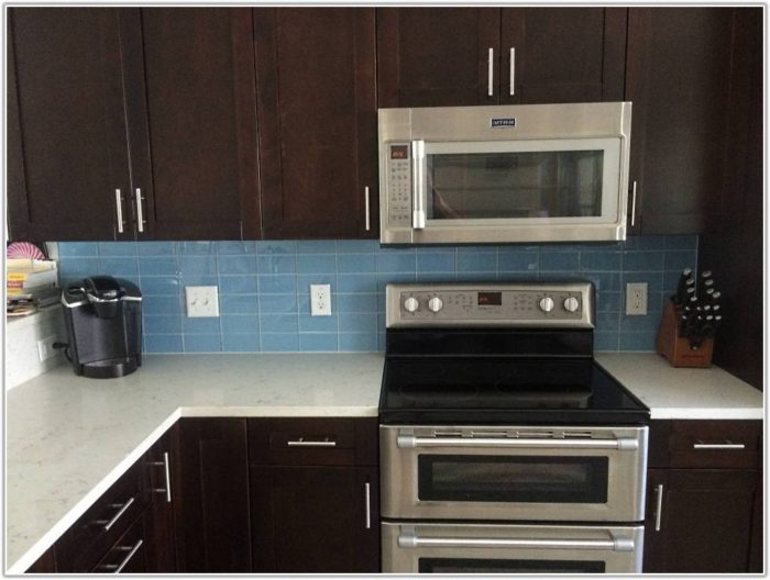 Blue Glass Subway Tile Kitchen Backsplash